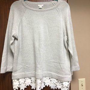 J CREW Lace Trim Sweater L New